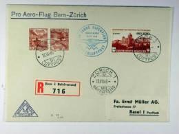 Switserland: Registered Cover 1943, Sonderluftpost, Bern Basel Zürich - Svizzera