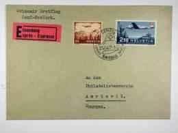 Switserland: Swiss Air Erstflug Genf-New York   Cover 1947, Mi 479, Cat Value 45 Euro