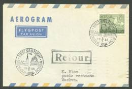 SWEDEN 1956. Aerogramme To Moskva. First Flight, - Postal Stationery