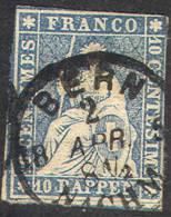 # Switzerland   37c,  Used , Dark Blue (sz037c-1, -10  Bb - Used Stamps