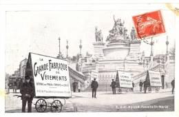 76 - Rouen - Fontaine Ste-Marie Animée Avec Porteurs Publicitaires Grande Fabrique De Vêtements - Rouen