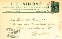 398/20 - BELGIQUE - Carte Publicitaire 1936 Football Club F.C. NINOVE - Football