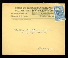 1121 Op Brief Police De Berchem - Sainte - Agathe Politie Sint Agatha Berchem  Verzonden Naar Oordegem  ( B61 ) - Belgium