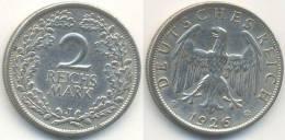 2 Reichsmark 1926 J, Weimarer Republik, Silber - [ 3] 1918-1933 : Weimar Republic