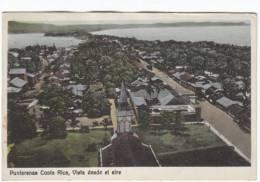 Puntarenas Costa Rica, Aerial View Of Town, Churhc, Architecture, C1920s Vintage Postcard - Costa Rica