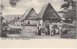 San Pedro Honduras, Street Scene, Native Houses Architecture, C1900s Vintage Postcard - Honduras