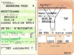 Boarding Pass - Brussels-Berlin Tempelhof-Brussels - Sabena - Instapkaart