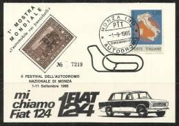 ITALY ITALIA REPUBBLICA 1 9 1966 CARTOLINA 1 MOSTRA MONDIALE L'AUTOMOBILE NEI FRANCOBOLLI MONZA AUTODROMO - 1961-70: Marcofilia