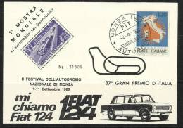 ITALY ITALIA REPUBBLICA 4 9 1966 CARTOLINA 1 MOSTRA MONDIALE L´AUTOMOBILE NEI FRANCOBOLLI MONZA AUTODROMO - 1961-70: Marcofilia