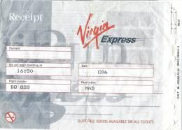 6 Receipt And Boarding Pass - Virgin Express, Brussels - Madrid - Instapkaart