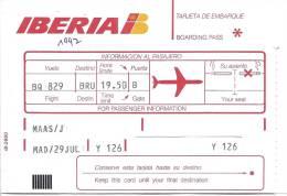5 Boarding Pass Iberia - Flight Virgin Express BQ829/TV829, Madrid - Brussels - Instapkaart