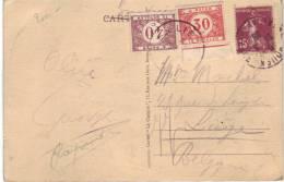 Timbres TX35 Et TX37 Sur CP De France Vers Liège Du 20/5/1928 (Rouen, Eglise Saint-Maclou)
