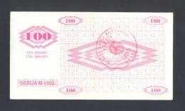 BOSNIA - BOSNIEN UND HERZEGOWINA; 100 Dinara 1992 AU, BREZA This Is Most Rarest Banknote From 1992 NOVCANI BON Serie !!! - Bosnien-Herzegowina