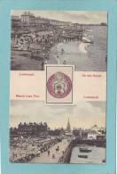 LOWESTOFT.  -  2 VUES  : On The Sands  -  Beach From Pier.  -  1907  - BELLE  CARTE - - Non Classés