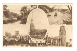 G1443 Bristol - Clifton Suspence Bridge - River Avon - Cathedral - University - Old Mini Card / Non Viaggiata - Bristol
