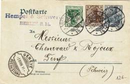 Post Carte     Germania  - Berlino To Geneve ( Suisse ) 1906 - Germany