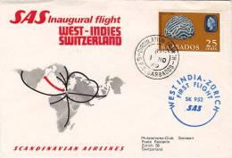 BARBADOS  - WEST-INDIES   /  ZURICH  -  Cover _ Lettera   _  SCANDINAVIAN AIRLINES - Barbados (1966-...)