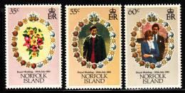 Norfolk Island MNH Scott #280-#282 Set Of 3 Royal Wedding - Charles And Diana - Ile Norfolk