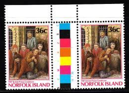 Norfolk Island MNH Scott #392 Gutter Pair 36c 1787 British Prison Conditions - Commission Of Governor Phillip 200th Ann - Ile Norfolk