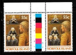 Norfolk Island MNH Scott #393 Gutter Pair 55c Sentence Of Transportation - Commission Of Governor Phillip 200th Ann - Ile Norfolk