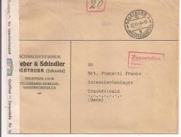 ZUZUSTELLEN, FELDPOSTDIREKTION, SOLOTHURN FUR  INTERNIERTENLAGER, TRASCHSELWALD, BERN - Posta Militare
