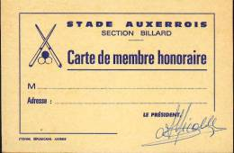 Carte De Membre Honoraire - Section Billard - Stade Auxerrois - 89 Auxerre Yonne Bourgogne - Billiards