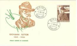 FDC - BUSTA ROMA  - GIOVANNI FATTORI   ANNO 1955    ITALIA REPUBBLICA - FIRST DAY COVER - FDC