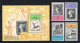 Antigua 1979 Briefmarken Mi.Nr. 529/32 Kpl. Satz + Block 40 ** - Antigua Und Barbuda (1981-...)
