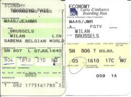 Boarding Pass Sabena - Brussels-Milan LIN- Brussels - Instapkaart