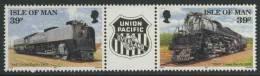 Isle Of Man 1992 Mi 514+ 515 Pair ** Union Pacific Lococomotiev No. 844 (1992) + Union Pacific Locomotive No.3985 (1992) - Treinen