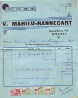 Jemappes - 1933 - V. Mahieu-Hannecart - Tous Les Imprimés - Printing & Stationeries