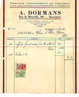 Quaregnon - 1933 - A. Dormans - Travaux D'impression En Général - Printing & Stationeries