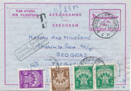 409/20 -  Entier AEROGRAMME Bruxelles 1961 Vers BELGRADE - RARE Taxé 4 Timbres-Taxe Yougoslavie - Stamped Stationery