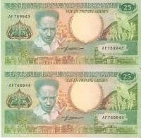 LOTE DE 2 BILLETES CORRELATIVOS DE SURINAM DE 25 GULDEN DEL AÑO 1988  SIN CIRCULAR-UNCIRCULATED  (BANK NOTE) - Surinam