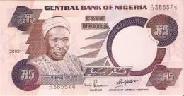 BILLETE DE NIGERIA DE 5 NAIRA DEL AÑO 2002  SIN CIRCULAR-UNCIRCULATED (BANKNOTE) - Nigeria