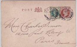 GB / PERFIN - 1901 - RARE CP ENTIER Avec REPIQUAGE PRIVE + TIMBRE PERFORE O & M De LONDON Pour PARIS - Material Postal