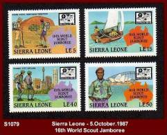"""S1079 SIERRA LEONE - 5.October.1987- """"16th WORLD SCOUT JAMBOREE"""" - Mint Set X4 - Scouting - Scouting"""
