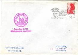 Lettre à En-tête La Combattante Patrouilleur P730 Gendarmerie Nationale + Flamme Marine Nationale Toulon Du 17/6/1987 - Marcophilie (Lettres)