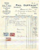 Farciennes - 1935 - Paul Duffaux - Fabrique De Registres - Fournitures De Bureaux - Travaux - Printing & Stationeries
