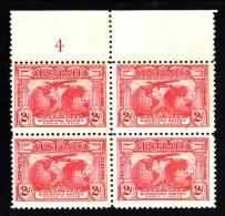 Australia MNH Scott #111 Margin Block Of 4 2p 'Southern Cross' Over Globe - Selvedge Hinged - Sheets, Plate Blocks &  Multiples