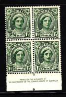 Australia MH Scott #192 Inscription Block Of 4 1 1/2p Queen Elizabeth - Sheets, Plate Blocks &  Multiples