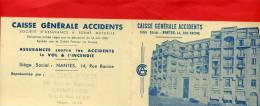 CALENDRIER 1954 CAISSE GENERALE ACCIDENTS 14 RUE RACINE NANTES LOIRE ATLANTIQUE CACHET LECOMTE RUE DU BOURGNEUF CHARTRES - Calendriers