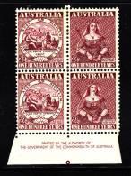 Australia MH Scott #229a Inscription Block Of 2 Pairs 2 1/2p Centenary Of Australian Adhesive Postage Stamps - Feuilles, Planches  Et Multiples