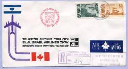 First Flight Registered ELAL MONTREAL To TEL AVIV LOD 1971  (539) - Erst- U. Sonderflugbriefe