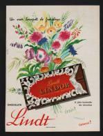 Pub Papier 1963 Chocolats LINDT Dessin Bouquet Fleurs Chocolat - Advertising