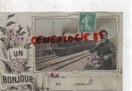 03 -  UN BONJOUR DE LAVAULT - TRAIN  -   CARTE FANTAISIE GLACEE