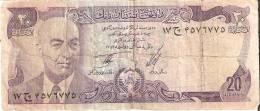BILLETE DE AFGANISTAN DE 20 AFGHANIS  (BANK NOTE) (rotura Central Parte Inferior) - Afghanistán
