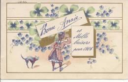 5876 - Bonne Année Et Mille Baisers Pour 1906 Chat, Trèfles Et Fillette - Nouvel An