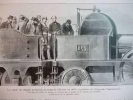 Chemin De Fer , Essai S De Chauffe Au Pétrole Au Camp De Chalons En 1868 , En Présence De L'empereur Napoléon III - Documenti Storici