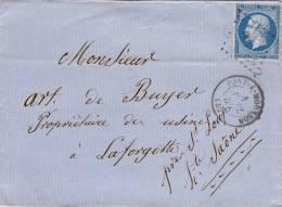 MEURTHE ET MOSELLE, Lettre 1859, PC 2490 PONT A MOUSSON Pour LAFORGETTE  Sur  Yv 14, ETs LEQUY /2392 - Marcophilie (Lettres)